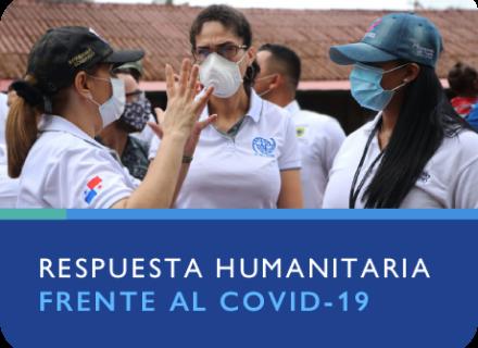 Fotografía de personas con mascarilla. Texto: respuesta humanitaria frente al COVID-19.